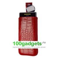 Чехол кожаный мешочек красный крокодил для HTC Windows Phone 8S
