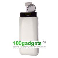 Чехол кожаный мешочек белый для HTC Windows Phone 8S