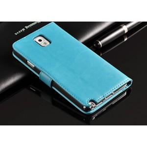 Глянцевый чехол портмоне подставка на пластиковой основе для Samsung Galaxy Note 3 Голубой