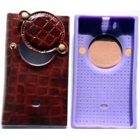 Чехол с защитой объектива под крокодила для Nokia Lumia 1020 Бордовый