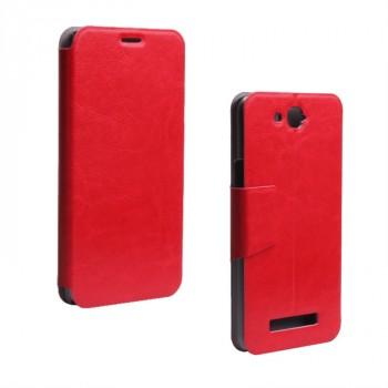 Чехол флип подставка с защелкой для Alcatel One Touch Hero Красный