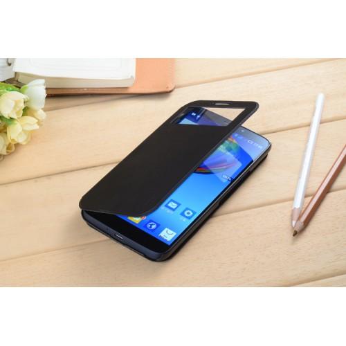 Чехол флип подставка с окном вызова для Alcatel One Touch Hero Синий