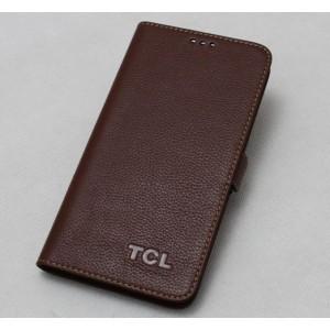 Кожаный чехол портмоне (нат. кожа) для Alcatel One Touch Hero Коричневый
