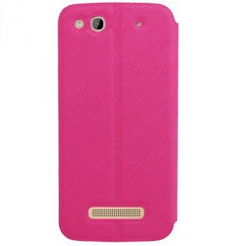 Чехол флип подставка текстурный на присоске для Alcatel One Touch Idol Alpha Розовый