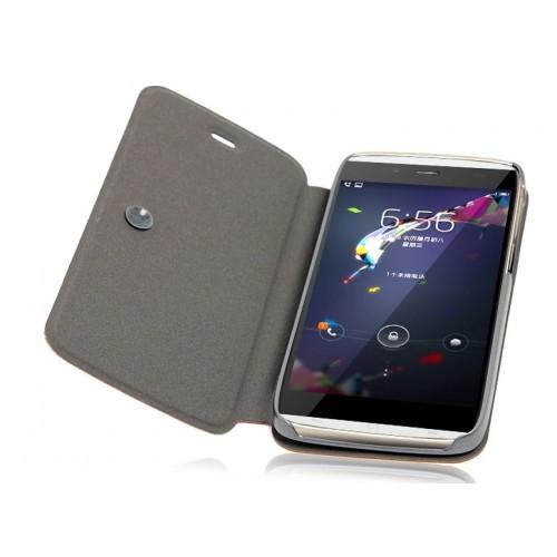 Чехол флип подставка текстурный на присоске для Alcatel One Touch Idol Alpha Черный