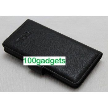 Кожаный чехол портмоне (нат. кожа) для Alcatel One Touch Idol X Черный