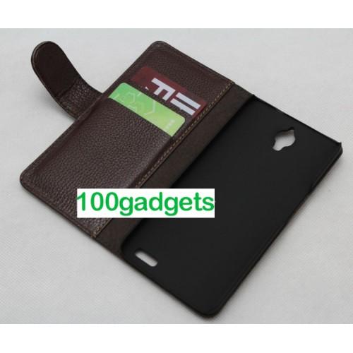 Кожаный чехол портмоне (нат. кожа) для Alcatel One Touch Idol X