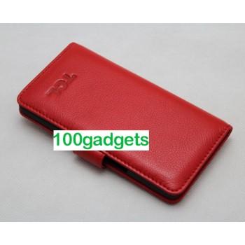 Кожаный чехол портмоне (нат. кожа) для Alcatel One Touch Idol X Красный