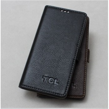 Кожаный чехол портмоне (нат. кожа) для Alcatel One Touch Idol X+ Черный