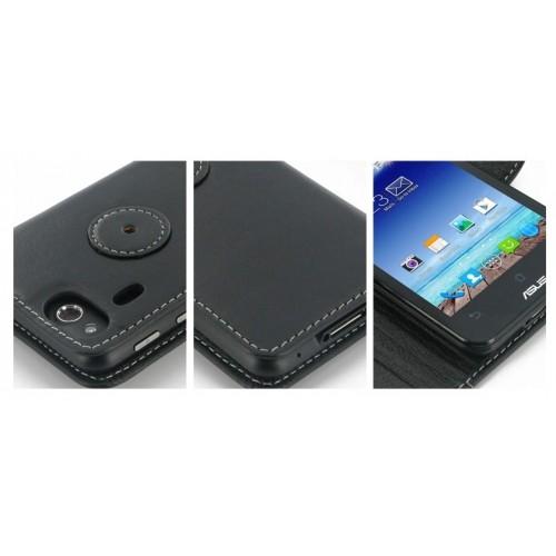 Кожаный чехол книжка горизонтальная клеевая (нат. кожа) для Asus PadFone mini 4.3