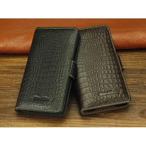 Кожаный чехол портмоне (нат. кожа крокодила) для Blackberry Z30 Черный