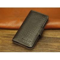 Кожаный чехол портмоне (нат. кожа крокодила) для Blackberry Z30 Коричневый