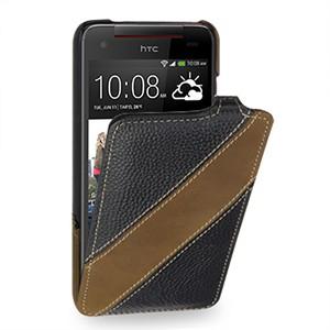 Кожаный чехол книжка вертикальная (2 вида нат. кожи) для HTC Butterfly S Черный
