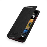 Кожаный чехол книжка горизонтальная (нат. кожа) для HTC Butterfly S Черный