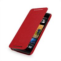 Кожаный чехол книжка горизонтальная (нат. кожа) для HTC Butterfly S Красный