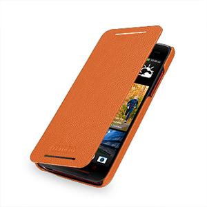 Кожаный чехол книжка горизонтальная (нат. кожа) для HTC Butterfly S Оранжевый