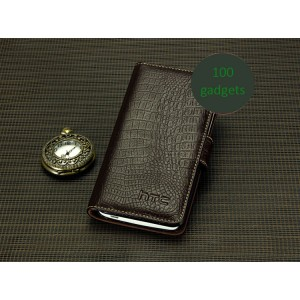 Кожаный чехол портмоне (нат. кожа крокодила) для HTC Butterfly S