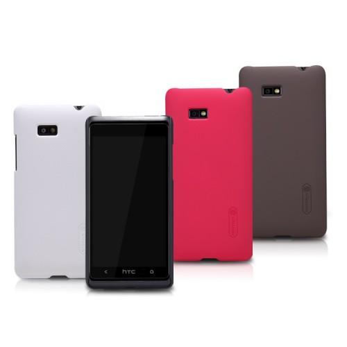 Пластиковый матовый премиум чехол для HTC Desire 600 Белый