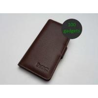 Кожаный чехол портмоне (нат. кожа) для HTC Desire 600 Коричневый