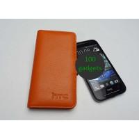 Кожаный чехол портмоне (нат. кожа) для HTC Desire 600 Оранжевый