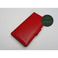 Кожаный чехол портмоне (нат. кожа) для HTC Desire 600 Красный