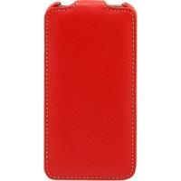 Кожаный чехол книжка вертикальная (нат. кожа) для HTC Desire 300 Красный
