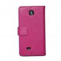 Кожаный чехол книжка горизонтальная подставка для LG Optimus F5 Розовый