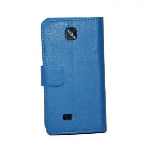 Кожаный чехол книжка горизонтальная подставка для LG Optimus F5 Синий