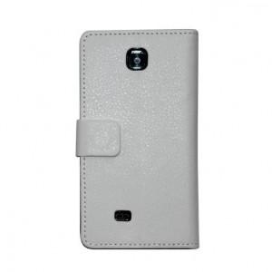Кожаный чехол книжка горизонтальная подставка для LG Optimus F5 Белый
