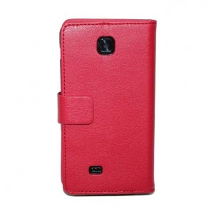Кожаный чехол книжка горизонтальная подставка для LG Optimus F5 Красный