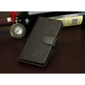 Кожаный чехол портмоне (нат. кожа крокодила) для Fly IQ4412 Quad Coral