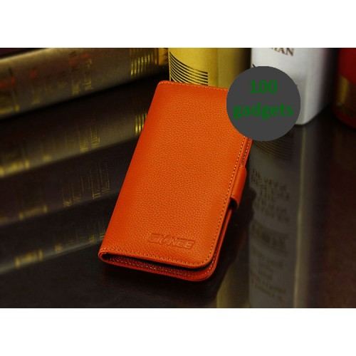 Кожаный чехол портмоне (нат. кожа) для Fly IQ4410 Quad Phoenix Оранжевый