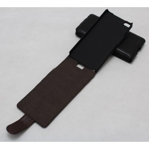 Кожаный чехол книжка вертикальная (нат. кожа) для Fly IQ453 Luminor Коричневый