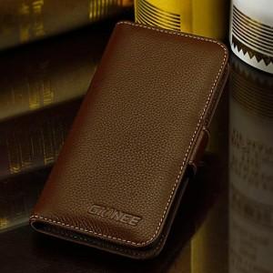 Кожаный чехол портмоне (нат. кожа) для Fly IQ453 Luminor Коричневый