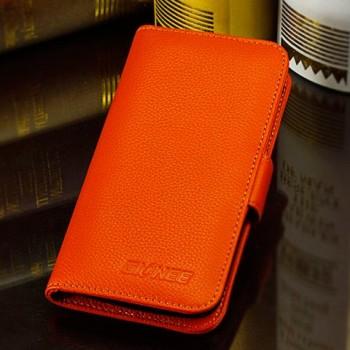 Кожаный чехол портмоне (нат. кожа) для Fly IQ453 Luminor Оранжевый
