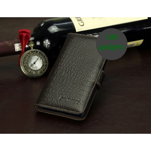 Кожаный чехол портмоне (нат. кожа крокодила) для Fly IQ453 Luminor
