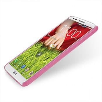 Кожаный чехол накладка Back Cover (нат. кожа) для LG Optimus G2 розовая