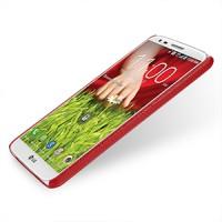 Кожаный чехол накладка Back Cover (нат. кожа) для LG Optimus G2 красная