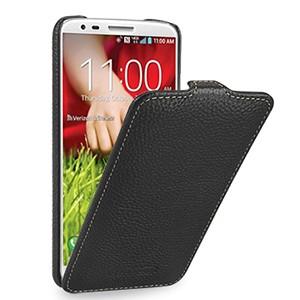 Кожаный чехол книжка вертикальная (нат. кожа) для LG Optimus G2 Черный