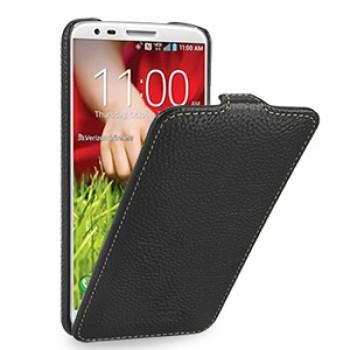 Кожаный чехол книжка вертикальная (нат. кожа) для LG Optimus G2