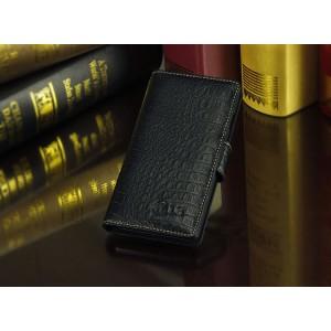 Кожаный чехол портмоне (нат. кожа крокодила) для LG Optimus G2 Черный