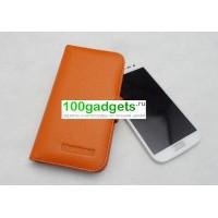 Кожаный чехол книжка горизонтальная портмоне (нат. кожа) для Samsung Galaxy Win GT-I8552 Оранжевый