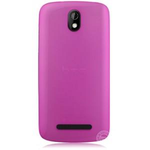 Пластиковая накладка полупрозрачная для HTC Desire 500 Розовый