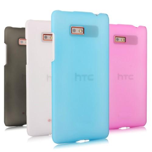 Пластиковый полупрозрачный чехол для HTC Desire 600 Розовый