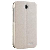 Чехол флип подставка текстурный на присоске для HTC Desire 310 Бежевый
