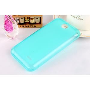 Силиконовый матовый полупрозрачный чехол для HTC Desire 310 Голубой
