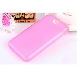 Силиконовый матовый полупрозрачный чехол для HTC Desire 310 Розовый