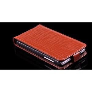 Кожаный чехол книжка вертикальная серия Croco Pattern для HTC Desire 400 Dual SIM Коричневый