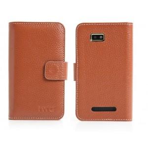 Кожаный чехол портмоне (нат. кожа) для HTC Desire 400 Dual SIM Коричневый