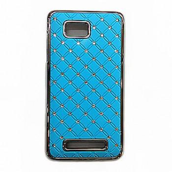 Пластиковый чехол со стразами для HTC Desire 400 Dual SIM Голубой